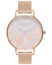 Olivia Burton - Lace Detail Blush Dial Mesh Watch - Lyst