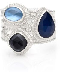 Anna Beck - Sama Hematite & Sapphire Faux Stackable Ring - Lyst