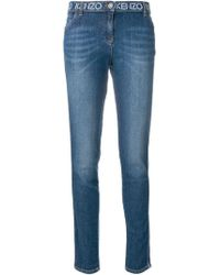 KENZO - Printed Waistband Slim-fit Jeans - Lyst