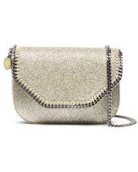 Stella McCartney | Metallic Gold Glitter Falabella Mini Cross Body Bag | Lyst