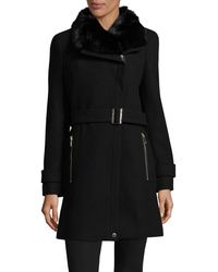 CALVIN KLEIN 205W39NYC - Buckled Cuff Faux Fur Trim Coat - Lyst