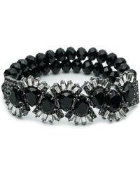 Carolee - Midnight Tower Crystal Beaded Stretch Bracelet - Lyst