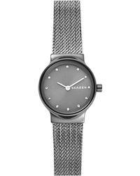 Skagen - Womens Freja Dark Gray Steel-mesh Watch - Lyst