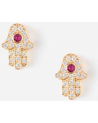 Orelia - Crystal Hamsa Stud Earrings - Lyst