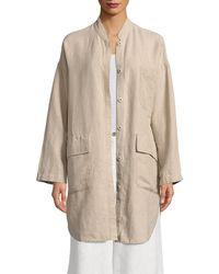 Eileen Fisher - Mandarin Collar Linen Jacket - Lyst