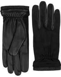 Black Brown 1826 - Suede Top With Acrylic Knit Cuff Gloves - Lyst
