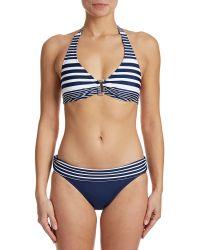 Chaps - Seaside Stripe Halter Swim Bra - Lyst