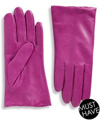 "Lord & Taylor - Cashmere-lined 9"" Leather Gloves - Lyst"