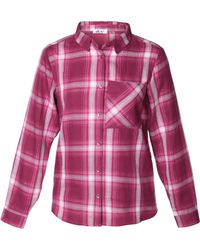 Dex - Plaid Long Sleeve Blouse - Lyst