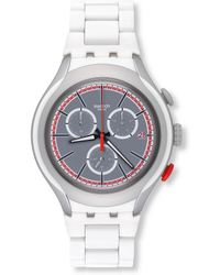 Swatch - Unisex Analog Archi-mix White Attack Silicone Watch - Lyst