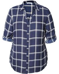 Dex - Plus Plaid Roll-tab Blouse - Lyst