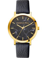 Christian Paul - Analog Raw Collection Brighton Marble Goldtone And Leather Watch - Lyst