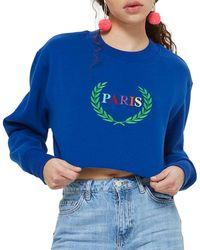 TOPSHOP - Paris Embroidered Crop Sweatshirt - Lyst