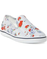 Lauren by Ralph Lauren | Womens Striped And Floral Slip-on Sneakers | Lyst