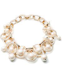 Carolee - Majestic Faux Pearl Shakey Links Bracelet - Lyst