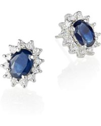 Effy - 14k White Gold Sapphire Stud Earrings With 0.47tcw Diamonds - Lyst