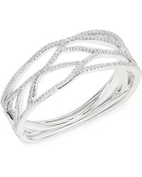 Nadri - Corsage Crystal Cut-out Hinged Bracelet - Lyst