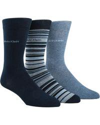 Calvin Klein - Three-pack Multi-stripe Crew Socks Set - Lyst