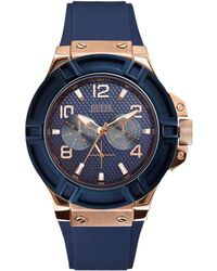 Guess - Blue And Rose Goldtone Watch - Lyst