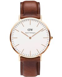 Daniel Wellington - Classic St Mawes 40mm Leather Strap Watch - Lyst