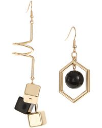Lord & Taylor - Mismatch Hexagon And Spiral Goldtone Earrings - Lyst