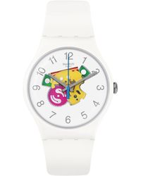 Swatch - Colour Studio Collection White Silicone Strap Watch - Lyst