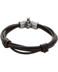 Uno De 50 - Men's Silver And Leather Tied Bracelet - Lyst