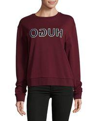 HUGO | Logo Cotton Sweatshirt | Lyst