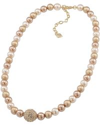 Carolee - Gold Pearl Necklace With Gold Crystal Center - Lyst