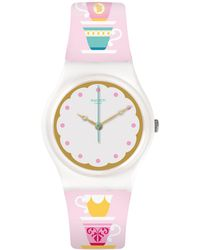 Swatch | High Tea Analog Printed Silicone Strap Watch | Lyst
