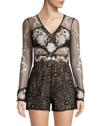 Lord & Taylor - Lace Embroidered Romper - Lyst