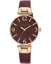 Anne Klein - Analog Gold And Burgundy Leather Strap Watch - Lyst