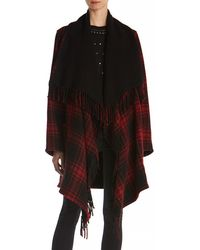 The Kooples   Wool-blend Checkered Poncho   Lyst