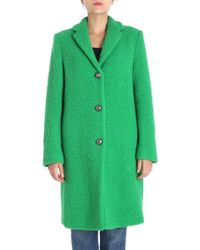 MSGM - Green Virgin Wool Coat - Lyst