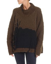 Rundholz - Army Green Pullover With Black Intarsia - Lyst