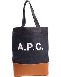 A.P.C. - Borsa in denim blu e pelle color cammello - Lyst