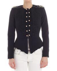 Elisabetta Franchi - Black Jacket With Beads - Lyst