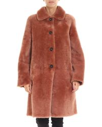 DESA NINETEENSEVENTYTWO - Peach-colored Shearling Long Coat - Lyst