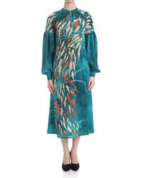 Stella Jean - Teal Color Dress With Fish Prints - Lyst