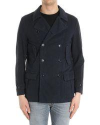 Aspesi - Blue Double-breasted Jacket - Lyst