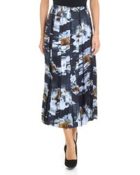 Jucca - Pleated Skirt In Shades Of Blue And Brown - Lyst