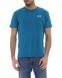Emporio Armani - T-shirt EA7 blu ottanio - Lyst