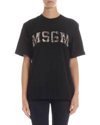 MSGM - Reptile Effect Logo Black T-shirt - Lyst