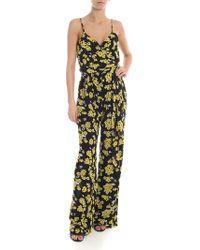 5c474dc20c Michael Kors - Black Jumpsuit With Flower Print - Lyst