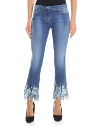 Blumarine - Light Blue Bootcut Jeans With Micro Sequins - Lyst