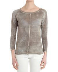 Avant Toi - Beige Sweater With Stitching Detail - Lyst