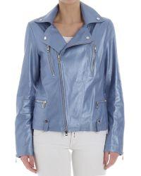 DESA NINETEENSEVENTYTWO - Light-blue Leather Biker Jacket - Lyst