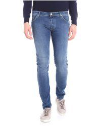 Jacob Cohen - Jeans blu 5 tasche con cuciture verdi - Lyst