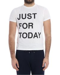 Ermanno Scervino - White T-shirt With Just For Today Print - Lyst