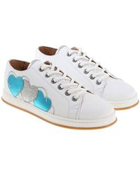 Twin Set - White Sneakers With Light Blue And Gray Hearts - Lyst
